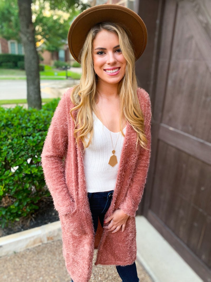 Mauve Brushed Hair Long Cardigan