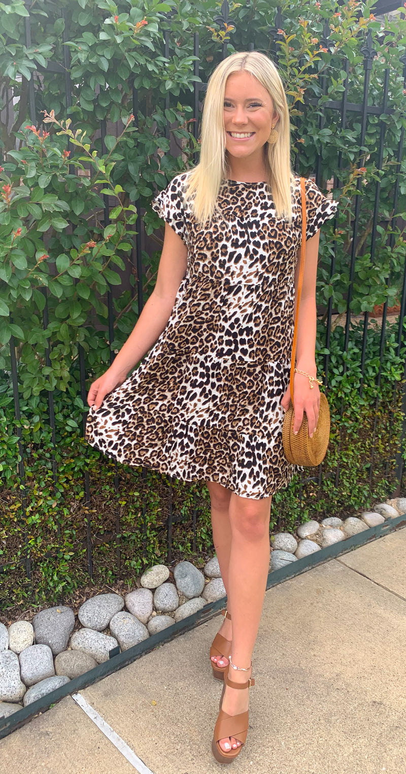 Leopard Round Neck Ruffled Dress