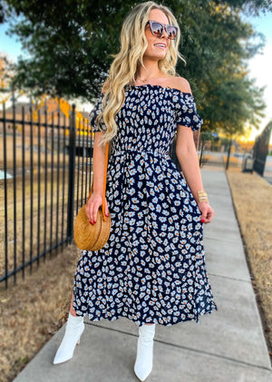 Navy Off Shoulder Floral Ruffle Dress (pre order 3/1)