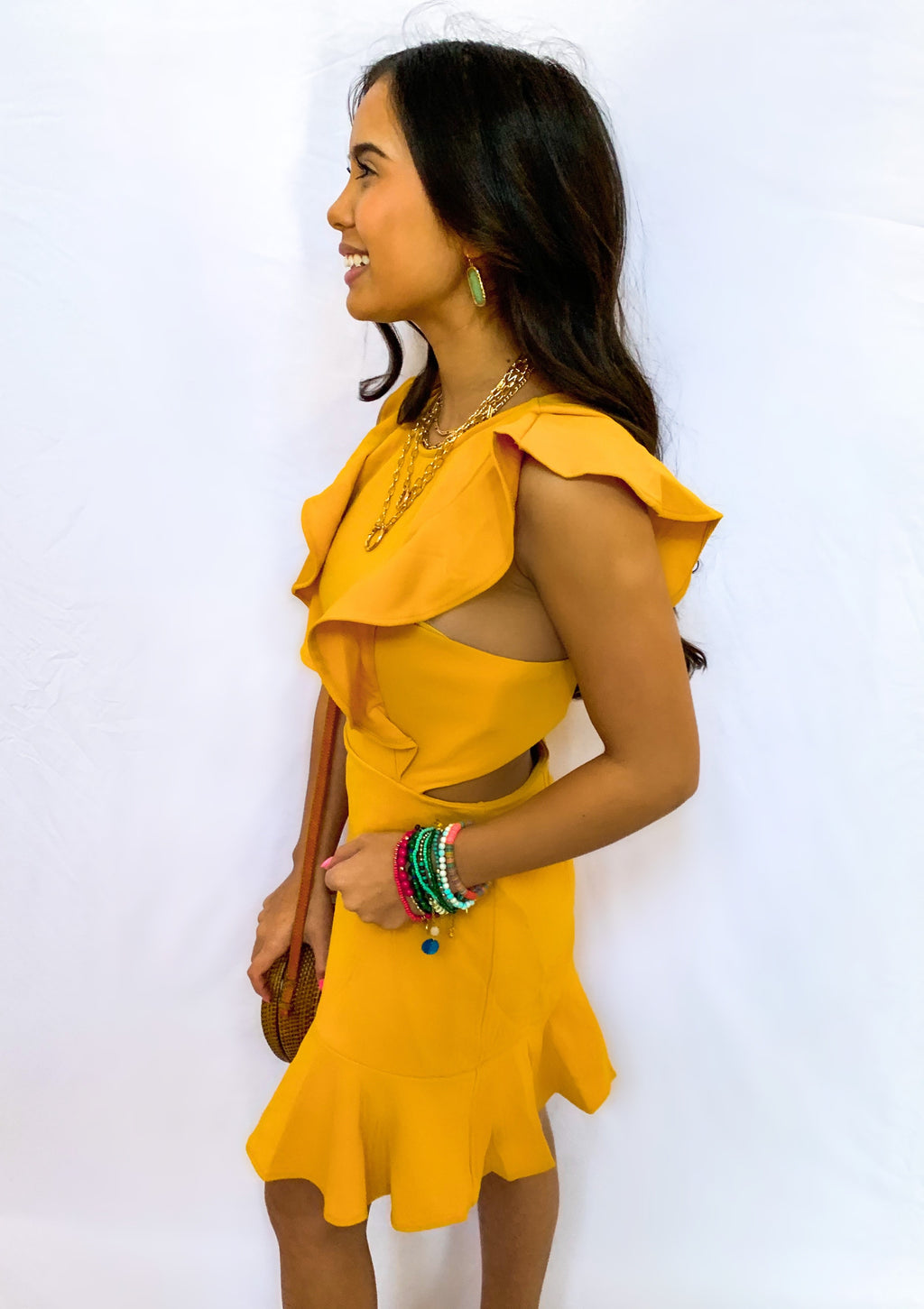 MUSTARD CUT OUT BACK RUFFLE DRESS