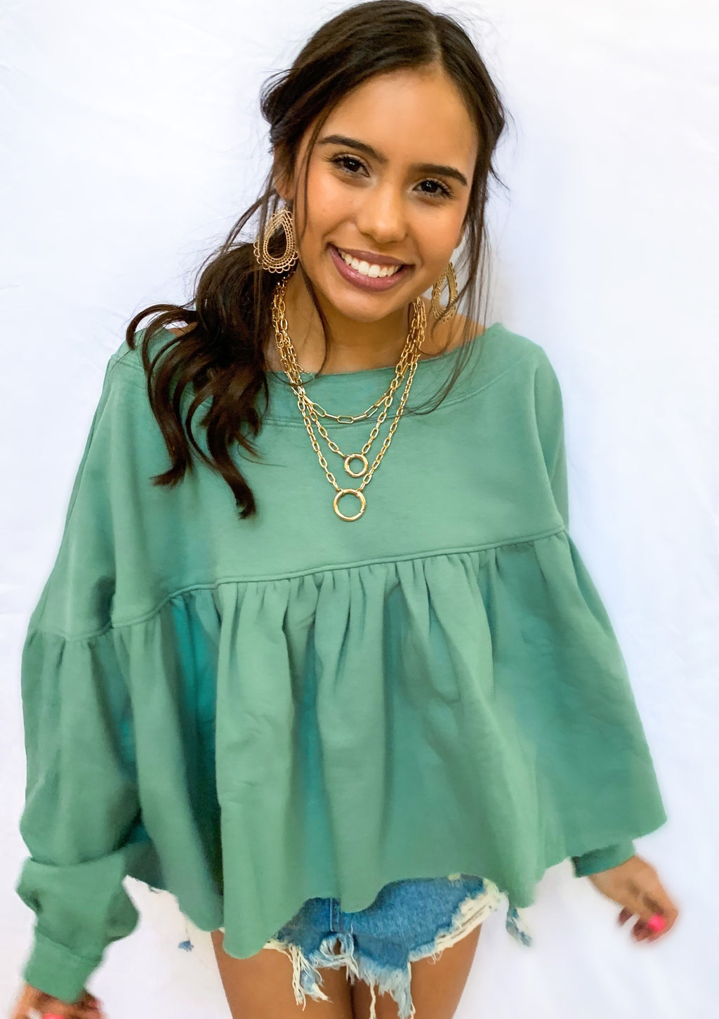 JADE FRENCHTERRY PUFF SLEEVE PULLOVER