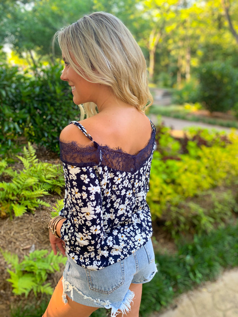 Navy Off Shoulder Long Sleeve Lace Blouse