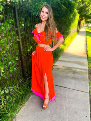 Ruffle Top And Maxi Skirt Set (Sold Separately)