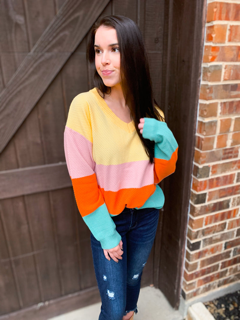 Yellow Color Block V Neck Loose Sweater (pre order 1/30)