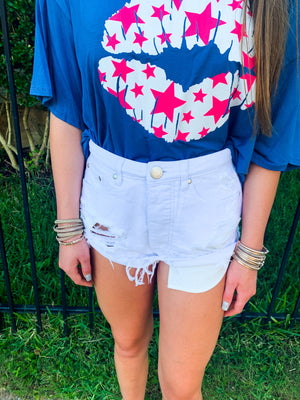 WHITE DESTROYED HIGH WAISTED CUFFED DENIM SHORTS