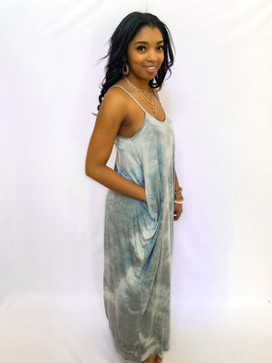 BLUE DRAPED CAMI MAXI DRESS