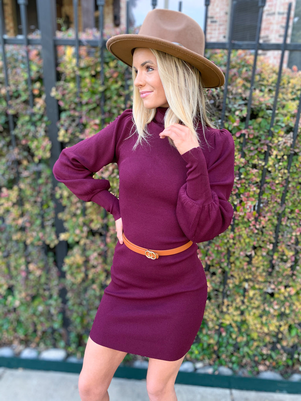 Wine TURTLE NECK SWEATER DRESS