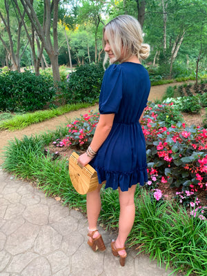 Navy V Neck Puff Sleeve Ruffled Dress (Preorder 7/21)