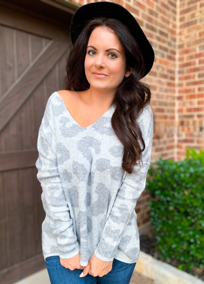 Best seller!!! Heather Grey V-neck Leopard Print Sweater