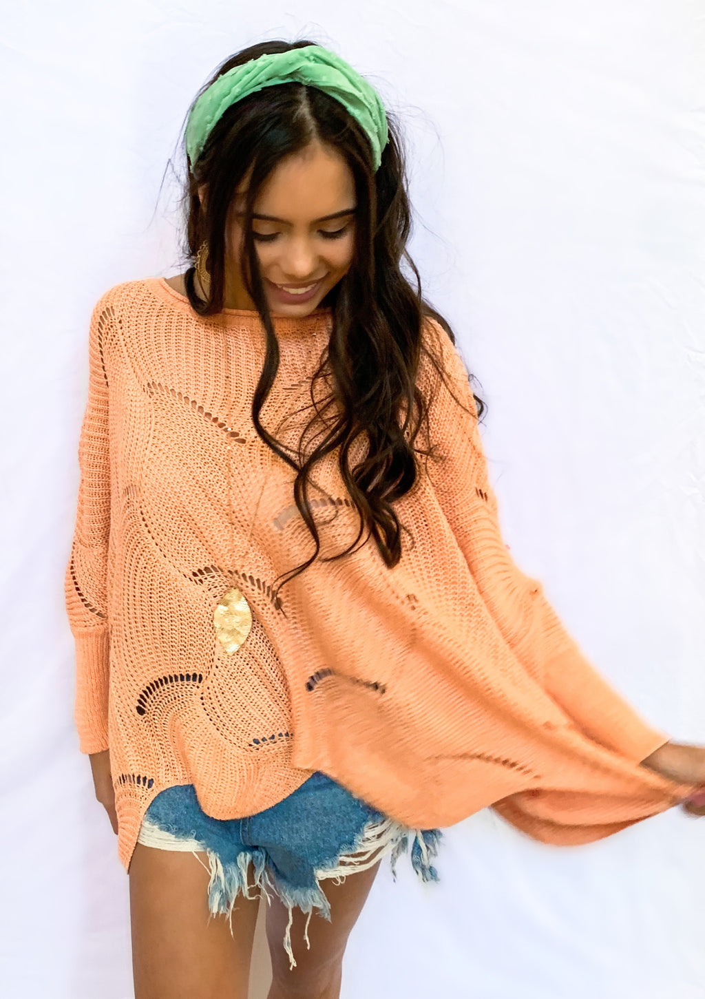 Woven Coral Sweater