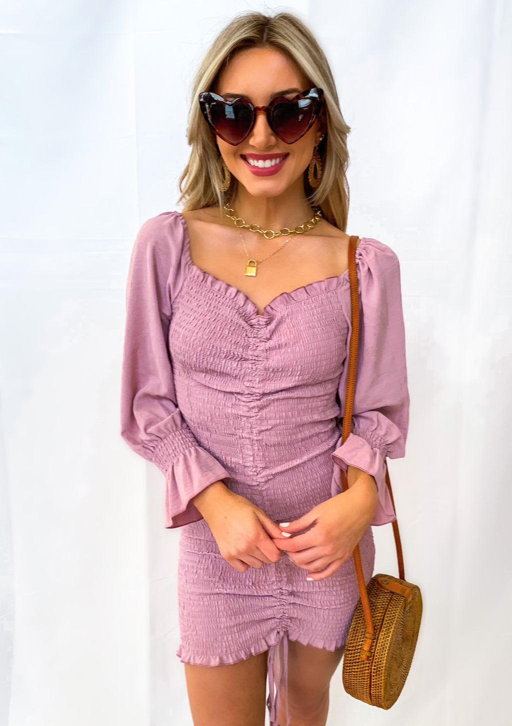 Mauve Ruched Bubble Sleeve Dress