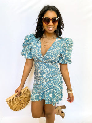 BLUE PUFF SLEEVE FLORAL DRESS