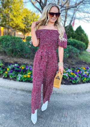 Wine Off Shoulder Polka Dot Jumpsuit (pre order 5/15)