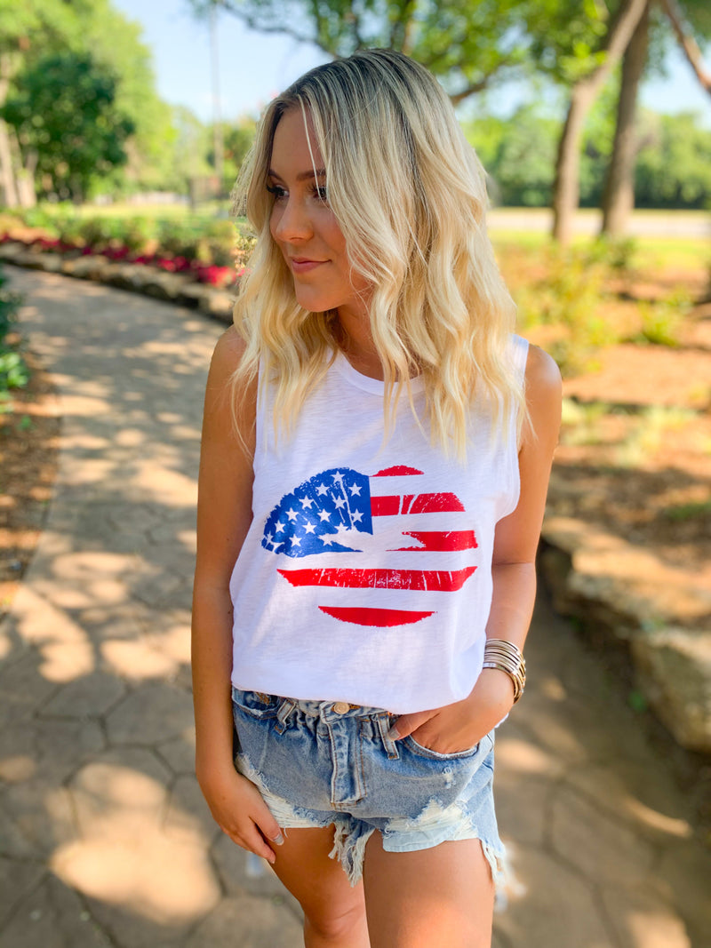 Americana Lips Graphic Tank