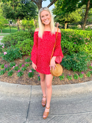 Red Off Shoulder Wide Sleeve Dress 6/21