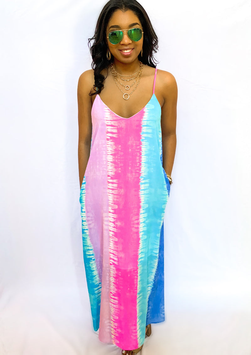 Striped Tie-Dye Printed Maxi Dress