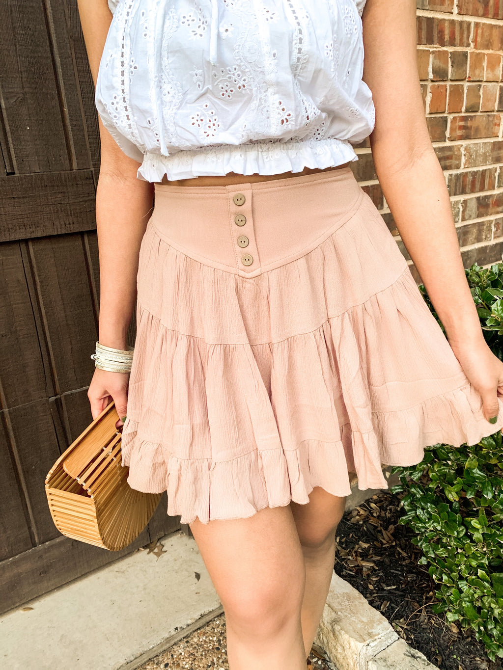 MAUVE RUFFLE TIERED SKIRT W BUTTON