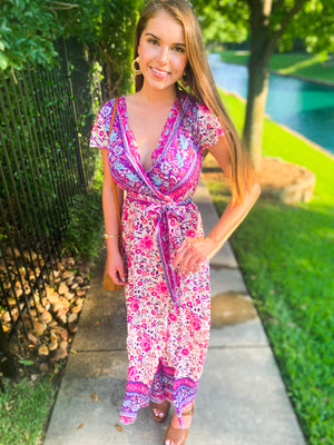 Purple V Neck Waist Tie Floral Maxi Dress