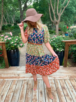 Floral printed color block woven dress