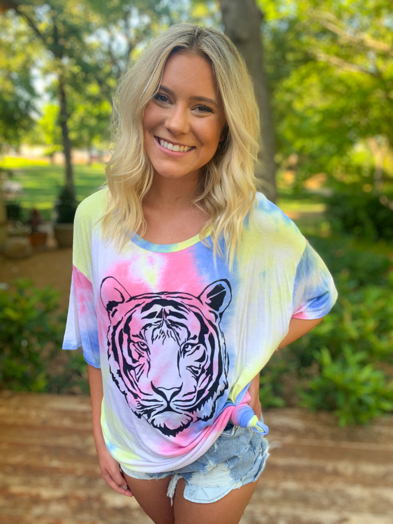 Tiger Tie Dye Graphic Top