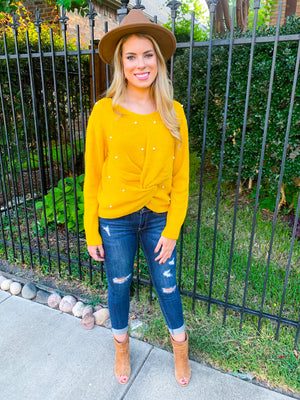 Mustard pearl beaded sweater with front knot