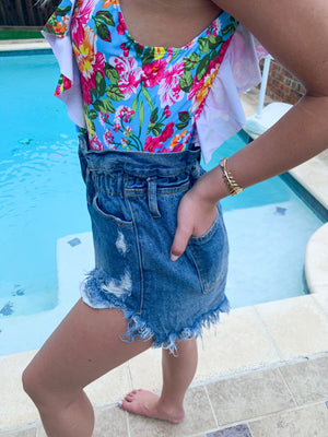 Best seller!!! DESTROYED PAPERBAG DENIM SHORTS