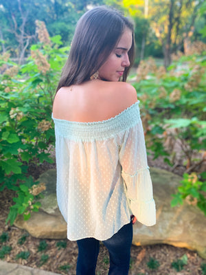 Mint Layered Bell Sleeve Off Shoulder Top