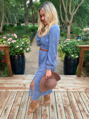 Best Seller!!! Blue Square Neck Long Sleeve Maxi Dress 10/30