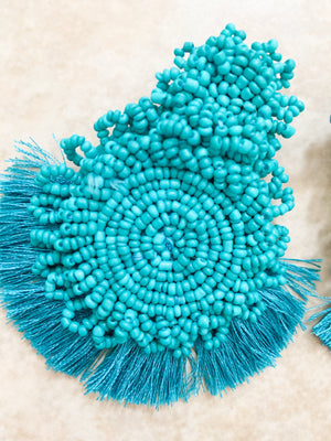 Turquoise Fringe Beaded Statement Earrings