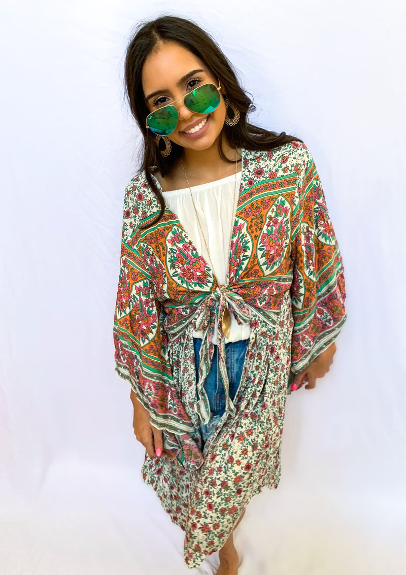 Floral Print Double Front Wide Sleeve Kimono