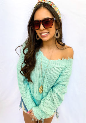 Mint Distressed V Neck Sweater