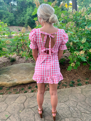 Pretty In Pink Back Tie Mini Dress