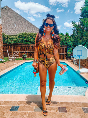 leopard double knot one piece