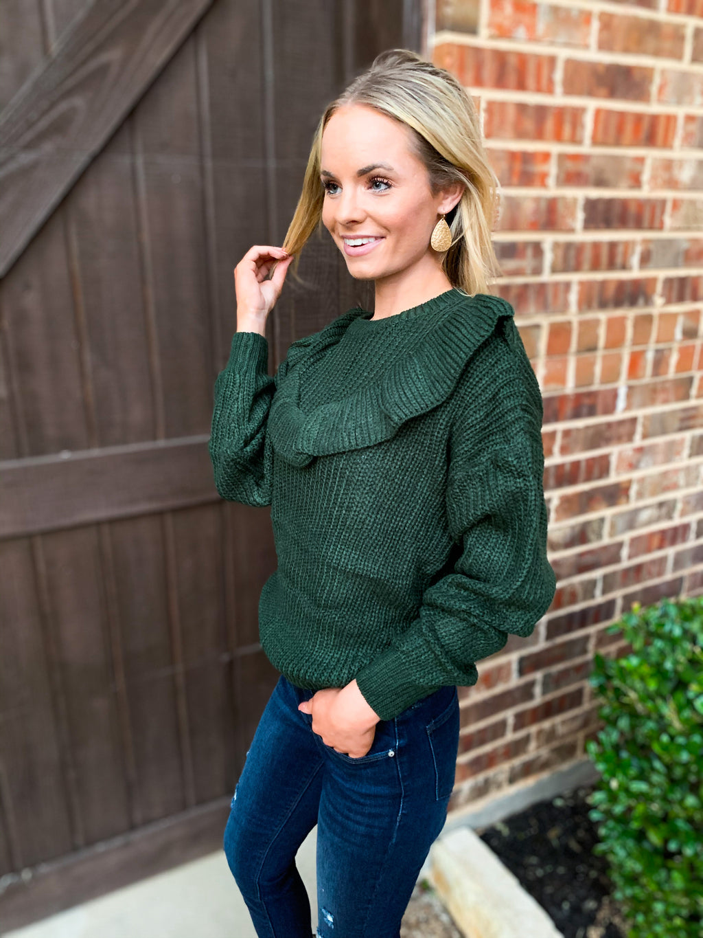 Green Ruffle Pullover Sweater