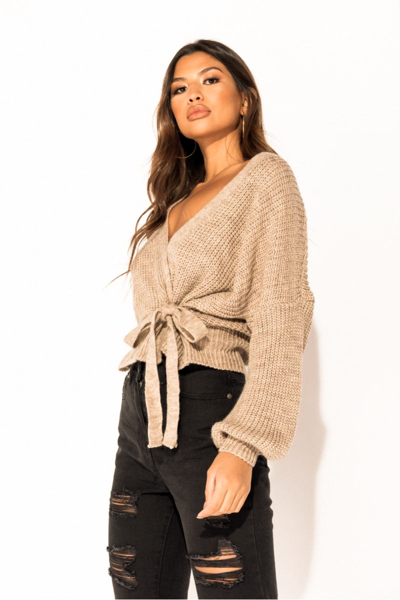 Best seller!!! Mocha Wrap Front Belted Puff Sleeve Cropped Sweater