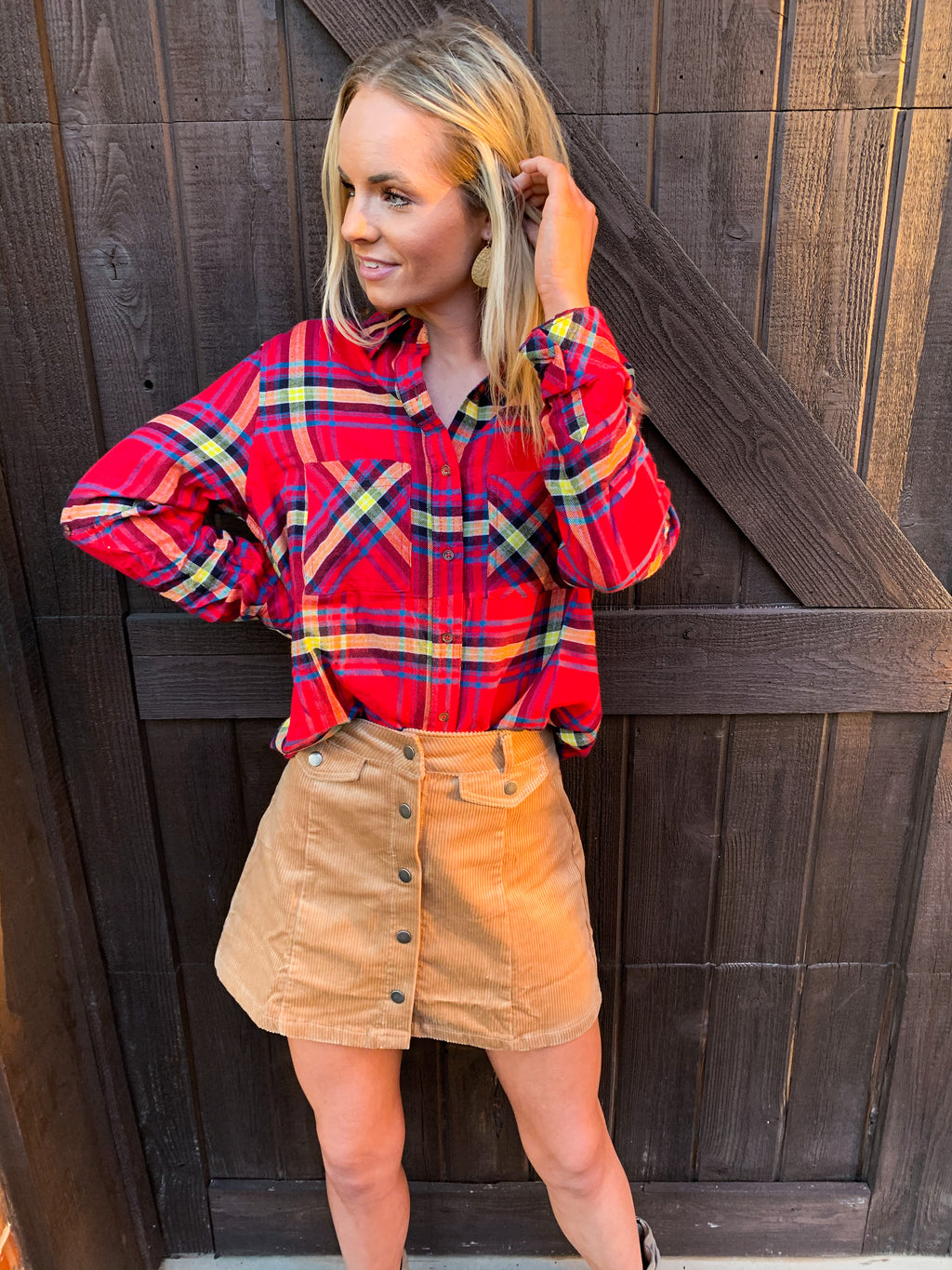 Red BASIC PLAID SHIRT WITH DOUBLE POCKET