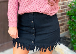 Black Raw Tassel Hem Skirt