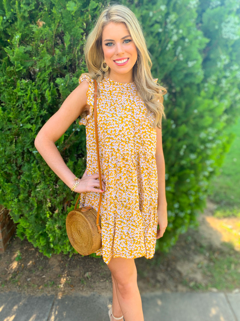 Best seller!!! Yellow Floral Printed Ruffle Sleeve Dress 10/30