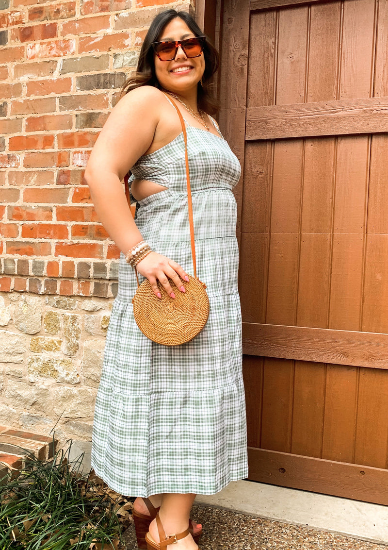 Green Plaid Print Back Tie Dress