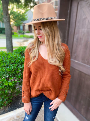 Rust v neck finely knit sweater