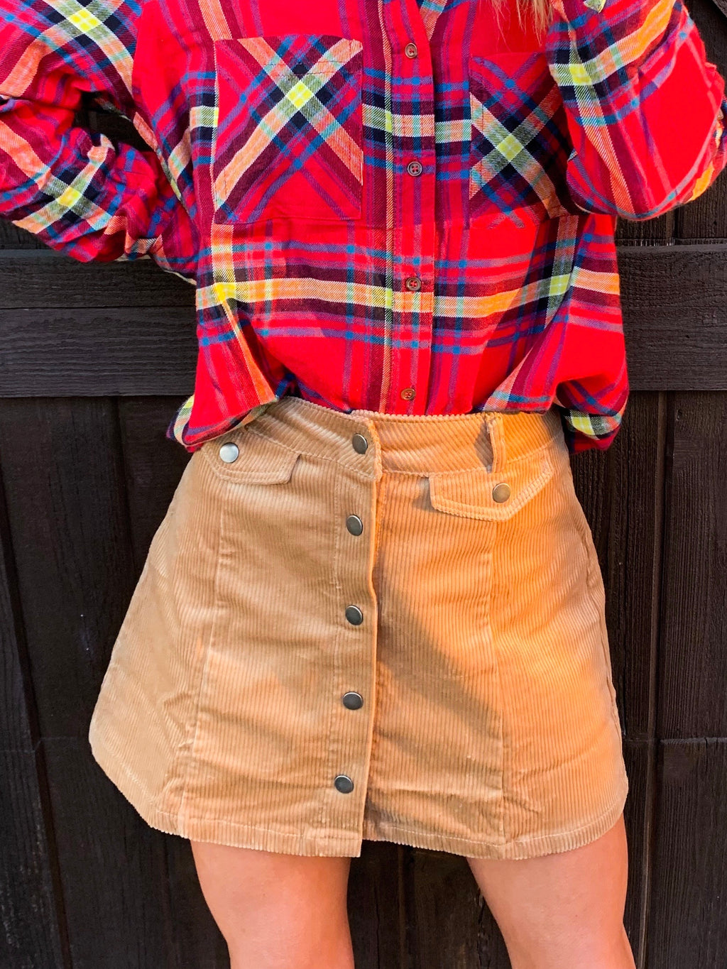 Honey Corduroy Button Down Mini Skirt