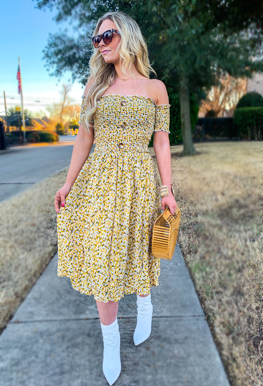 Yellow Off Shoulder Floral Ruffle Dress (pre order 5/15)