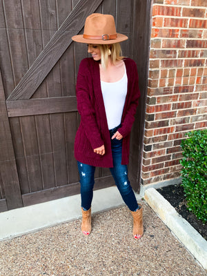 Wine Chunky Cable Knit Ribbed Open Front Cardigan