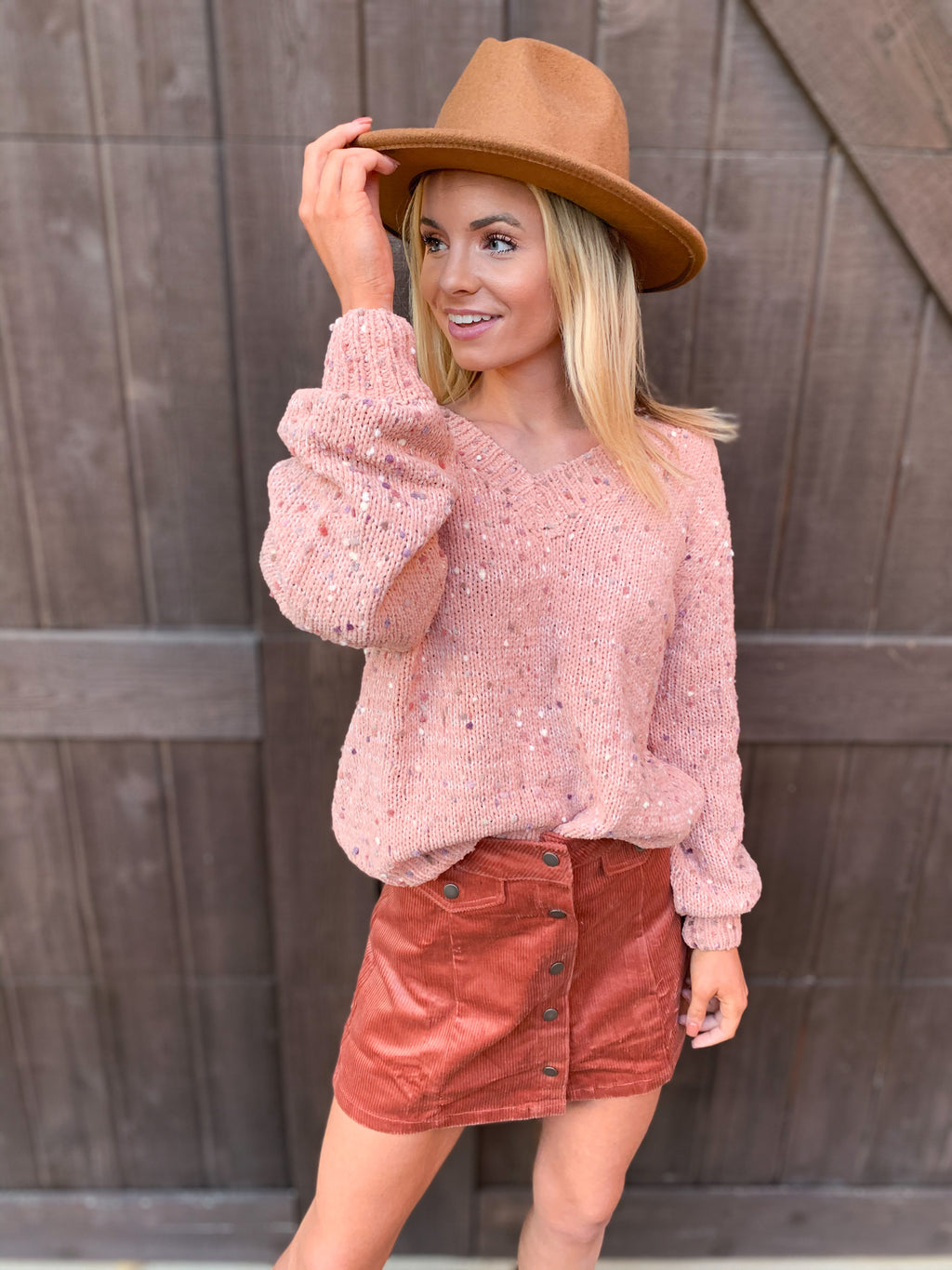 Corduroy Button Down Mini Skirt
