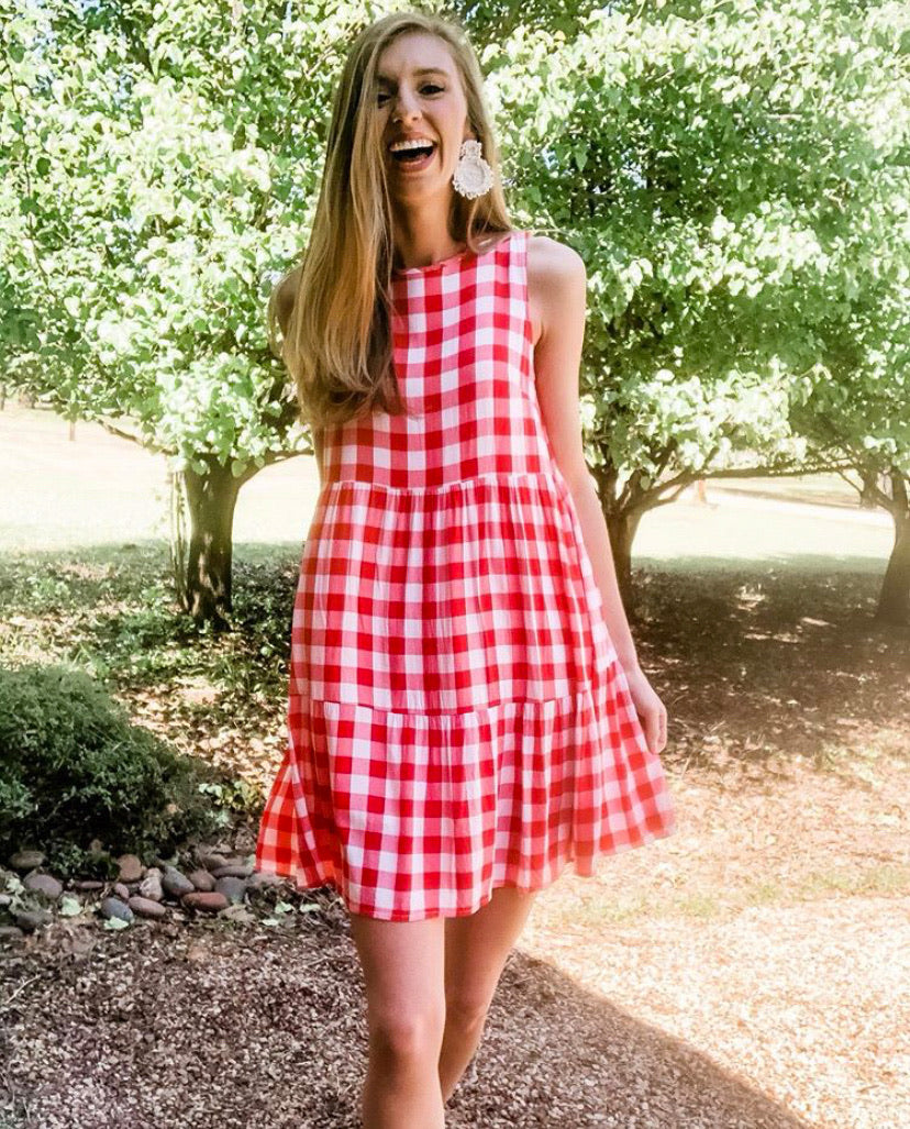 Best seller!!! Red Plaid Printed A-line Midi Dress