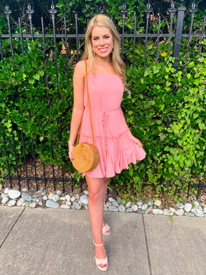 Pink Spaghetti Strap Swing Dress