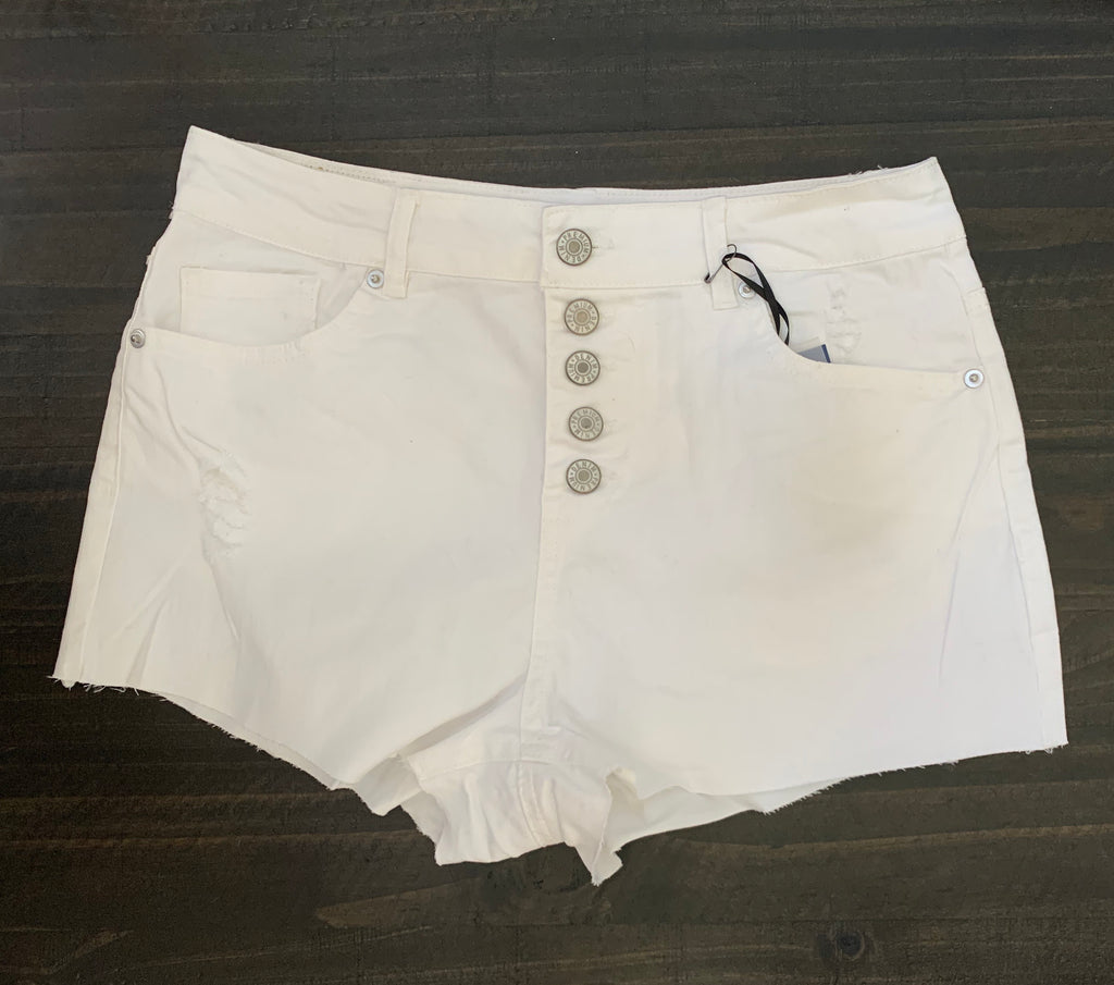 WHITE MULTI BUTTON DOWN RAW HEM SHORTS