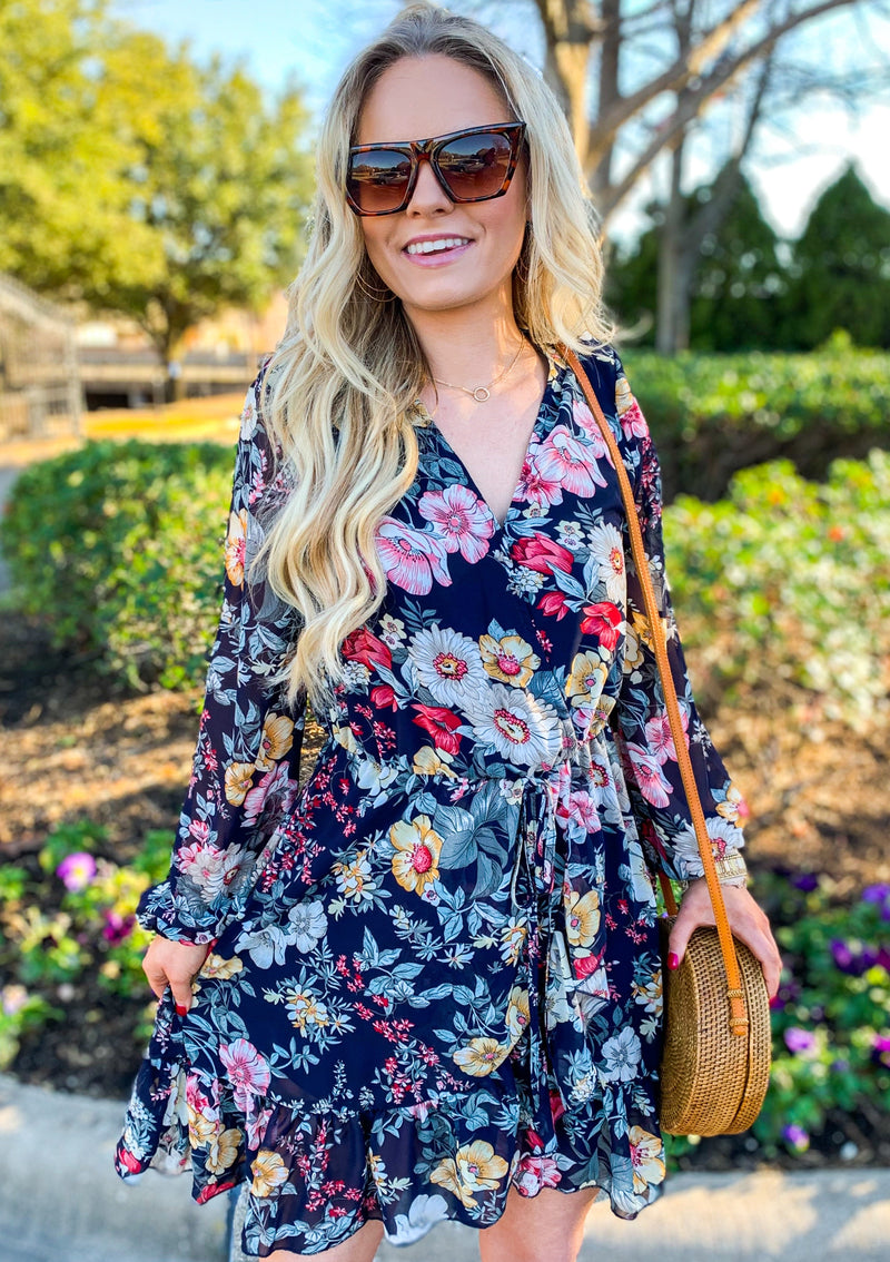 Navy Floral Ruffle Short Dress (pre order 3/1)