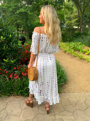 Off Shoulder Hi-Lo Hem Split Dress
