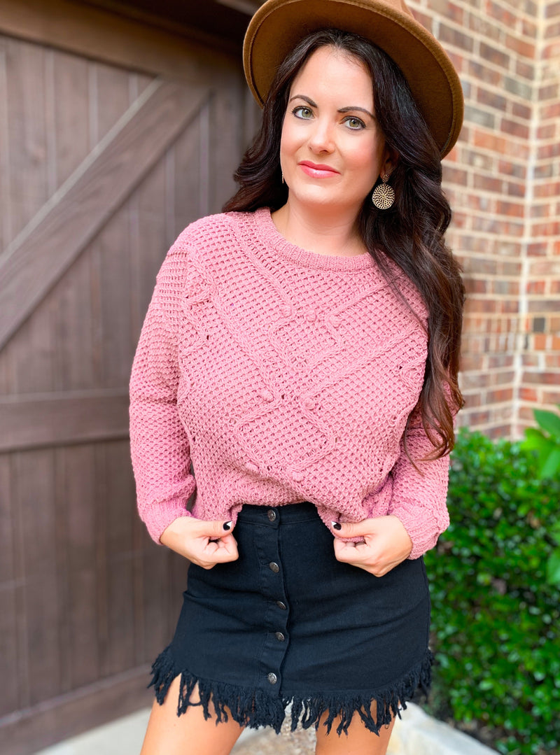 Mauve Chunky Cable Knit Sweater
